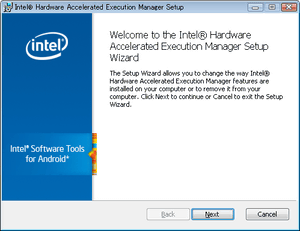 Intel Hardware Accelerated Execution Manager Setup Wizard dialog