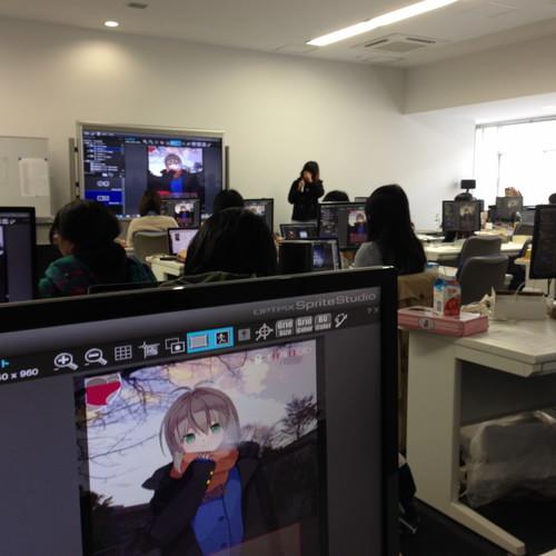 キャラクターデザインコースでのSpriteStudio作品発表会