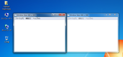 Windows7のウィンドウサイズ