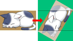 回転により発生する余白と外側